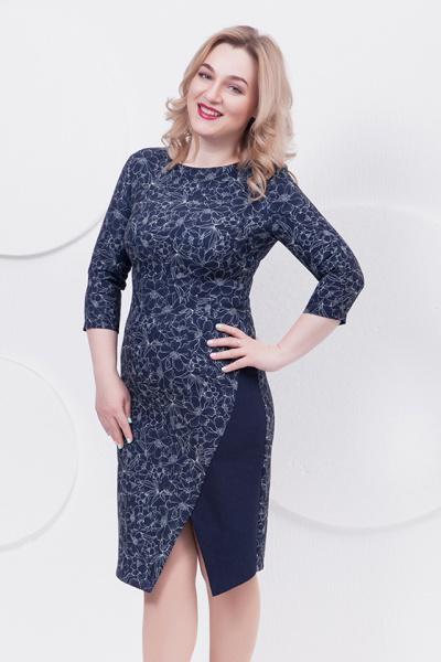 Платье синего цвета, П-490