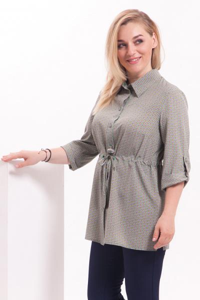 """Блуза с принтом """"совы"""" мятного цвета, Б-125/7"""
